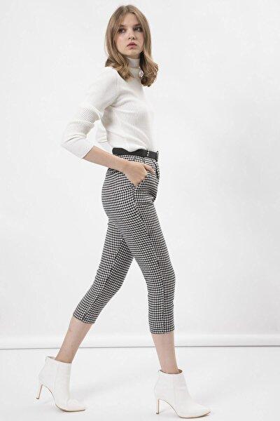 Arma Life Kadın Beyaz Kazayağı Kemerli Kaşe Pantolon