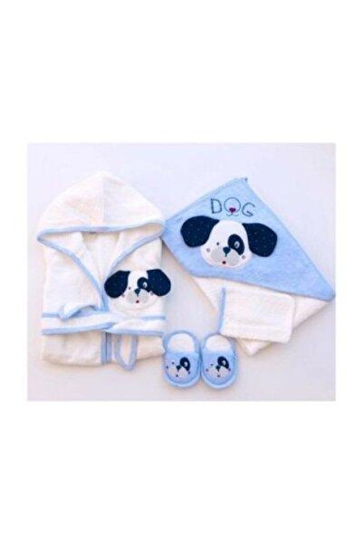 Gaye Bebe Erkek Bebek Beyaz Havlu Bornoz Seti