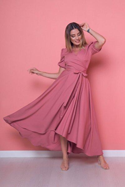 Bidoluelbise Kadın Gül Kurusu Büyük Beden Asimetrik Kesim Elbise