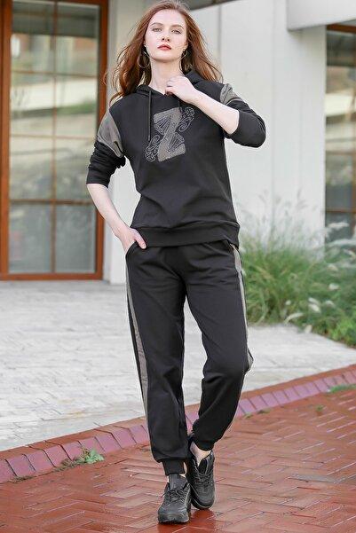 Chiccy Kadın Siyah Casual Aplikeli Kristal Taş İşlemeli Üst Cep Detaylı Alt Eşofman Takım M10410000ES99941
