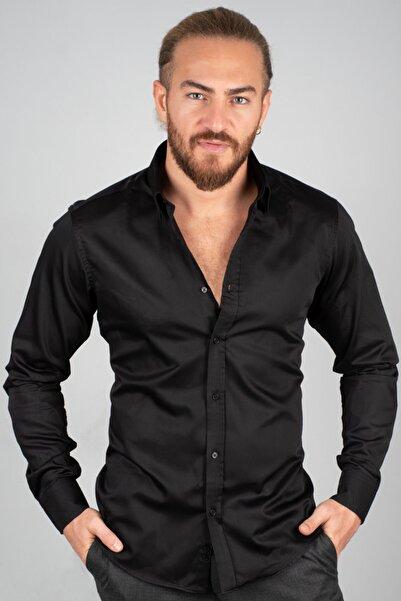 DeepSEA Erkek Siyah Klasik Model Pamuk Saten Klasik Gömlek