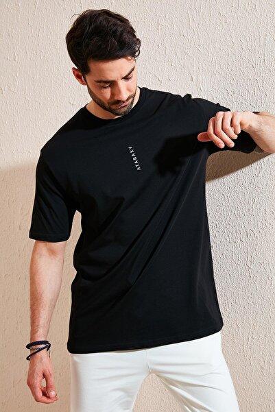 Buratti Oversize Yazı Baskılı Bisiklet Yaka % 100 Pamuk T Shirt Erkek T SHİRT 5721021