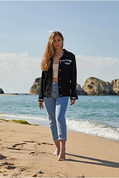 VorNişantaşı Kadın Siyah Tasarım Sırtı Taş Işlemeli Ceket