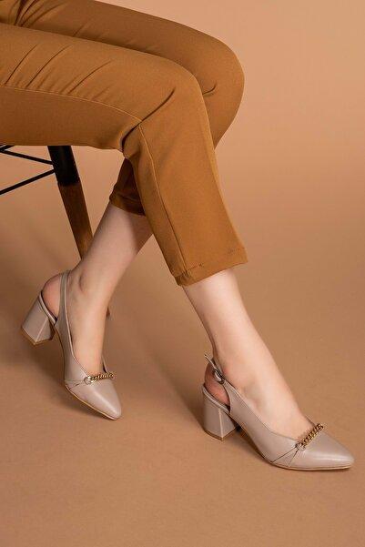 Gondol Kadın Vizon Deri Zincir Detaylı Topuklu Ayakkabı Şhn.779