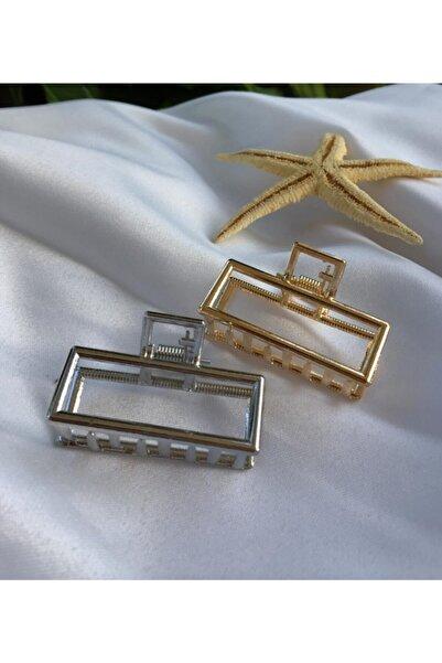 DGN Shoping Kadın Gümüş Gold Ikili Dikdörtgen Metal Mandal Toka