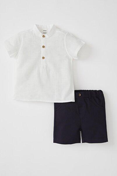 DeFacto Erkek Bebek Beyaz Gömlek Ve Şort Takımı