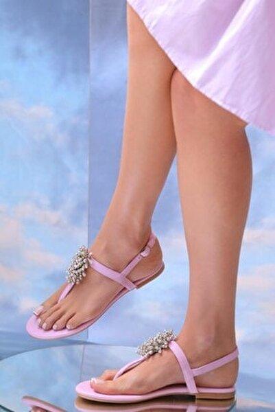 Hakiki Deri Pembe Günlük Taşlı Sandalet
