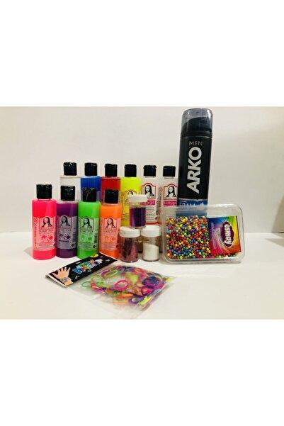 Monalisa Slıme Yapma Seti 8 Renk 70ml Slime, 2 Adet Sıvı Boraks, Sim,renkli Lastik,renkli Köpük Ve Traş Köpük