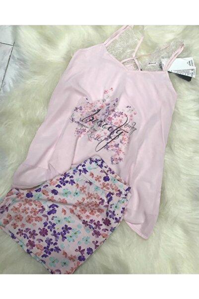 Eros Pijama Kadın Pembe Askılı Şortlu Pijama Takımı