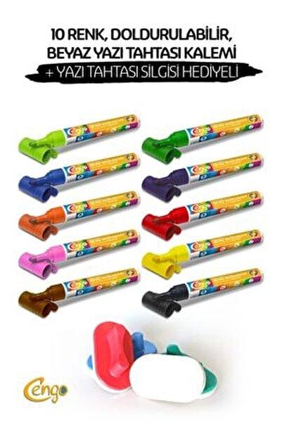 10 Renk , Doldurulabilir Beyaz Yazı Tahtası Kalemi + Tahta Silgisi