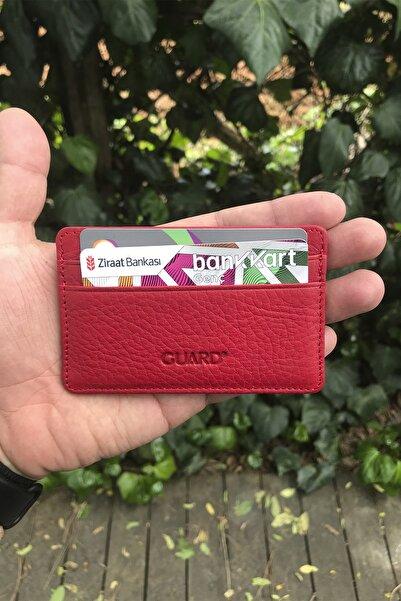 GUARD Ultra Ince Unisex Kırmızı Minimal Deri Kartlık