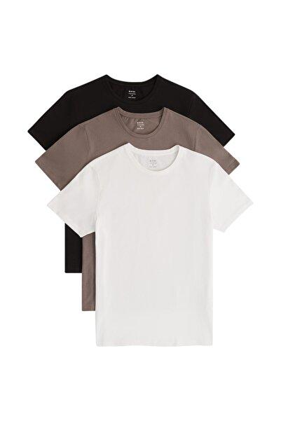 Avva Erkek Siyah-beyaz-antrasit 3'lü Bisiklet Yaka Düz T-shirt E001010
