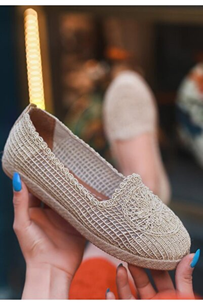 ESPARDİLE Krem Bej Örgülü Babet Ayakkabı