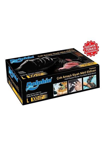 Dolphin Siyah Çok Amaçlı Nitril Eldiven Large 100'lü Paket