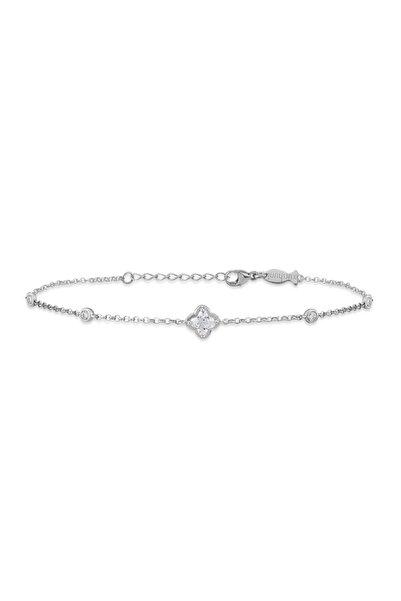 KURSHUNI Kadın Beyaz 925 Ayar Gümüş Bloom Bileklik KR701-1