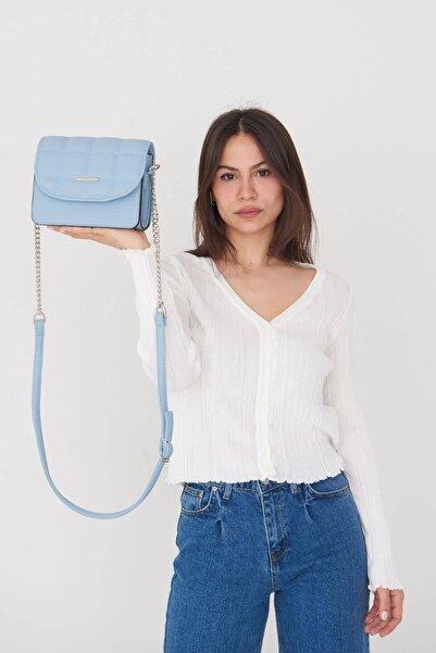 Addax Kadın Mavi Zincir Detaylı Askılı Çanta Ç3247 - F13 Adx-0000023735