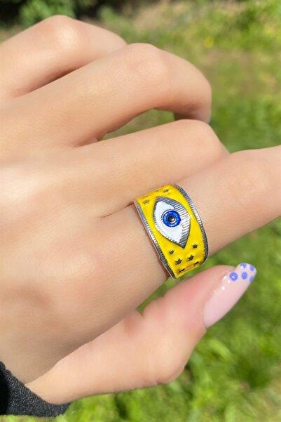 TAKIŞTIR Gümüş Renk Sarı Göz Figürlü Ayarlanabilir Yüzük