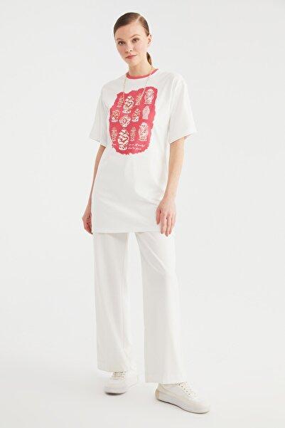 Trendyol Modest Gül Kurusu Baskılı Kısa Kollu Süprem Örme Tesettür T-Shirt TCTSS21TN0217