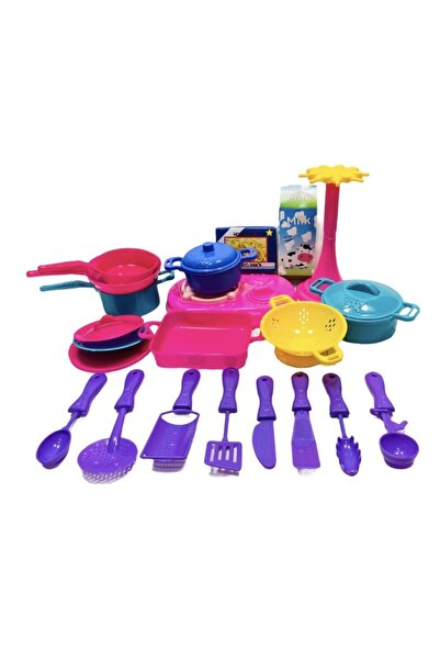 toysandmore Çatal Bıçak Tencere Ocak Tava Süzgeç Oyuncak Mutfak Seti