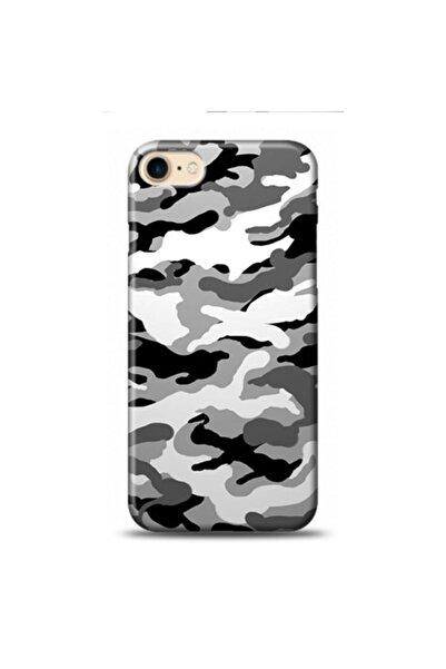 EXCLUSIVE Apple Iphone 8 Gri Kamuflaj Desenli Kılıf