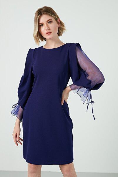AYHAN Kadın Lacivert Kolları Şifon Bisiklet Yaka Elbise Elbise 04660627