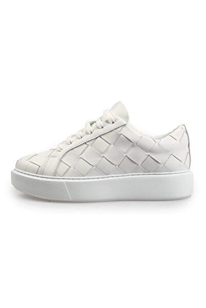 Flower Kadın Beyaz Deri Örgü Sneakers