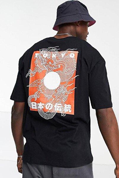 Oksit Toshiro Yakuza Dragons Unisex Oversize Bisiklet Yaka Tshirt