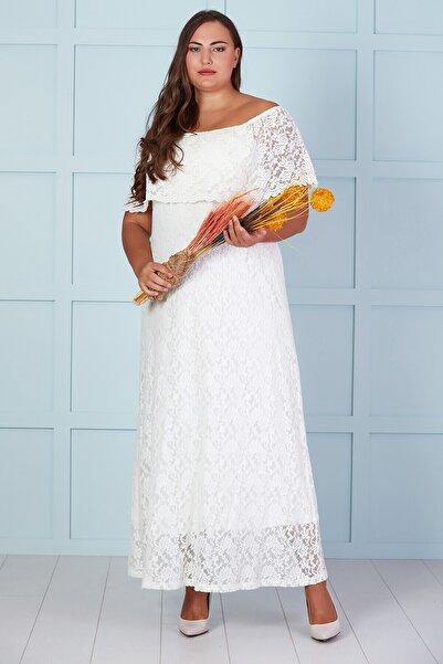 Büyük Moda Kadın Beyaz Dantel Madonna Yaka Uzun Elbise
