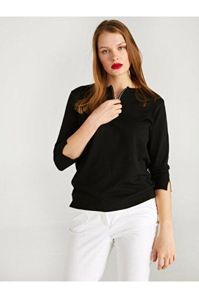 Faik Sönmez Kadın Siyah Yakası Taş Detaylı Fermuarlı Triko Bluz 62623