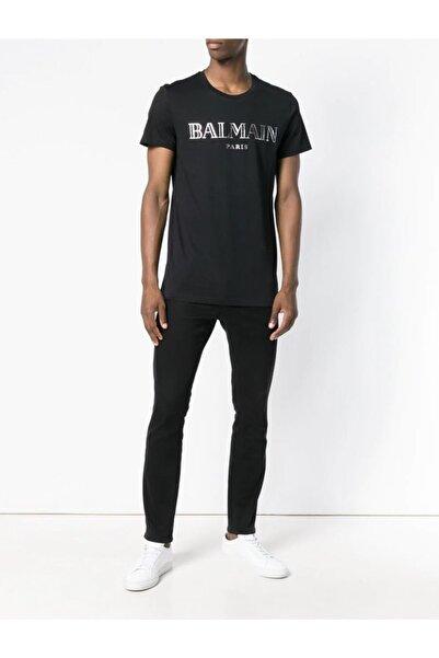 BALMAIN Erkek Siyah Silver Print Regular Fit T-shirt