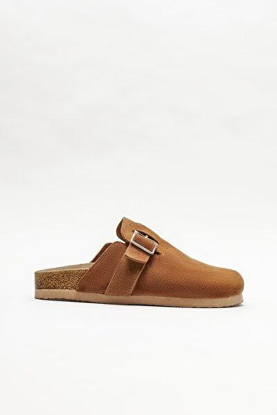 Elle Shoes Kadın Taba Deri Düz Terlik