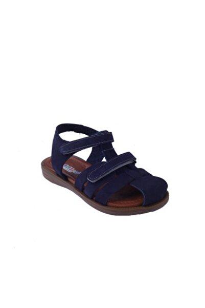 Toddler Unisex Çocuk Lacivert Hakiki Deri Çift Cırtlı Sandalet 01216