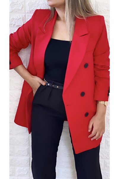 SEDA FİDAN Atlas Kruvaze Blazer Ceket Kırmızı