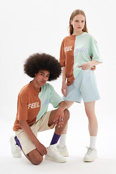 TRENDYOL MAN Kahverengi Unisex Oversize Renk Bloklu T-Shirt TMNSS21TS3364