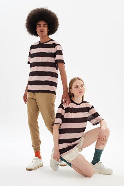 TRENDYOL MAN Siyah Unisex Ringelli Regular Fit Çizgili T-Shirt TMNSS21TS3354