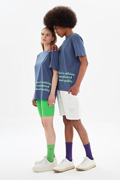 TRENDYOL MAN Lacivert Unisex Regular Fit T-Shirt TMNSS21TS3353