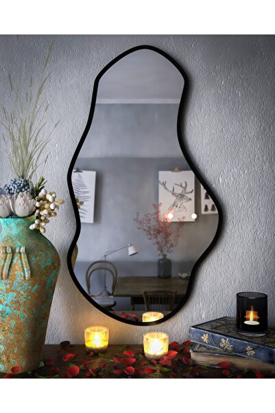 rivomo Siyah Dekoratif Duvar Aynası  90x50