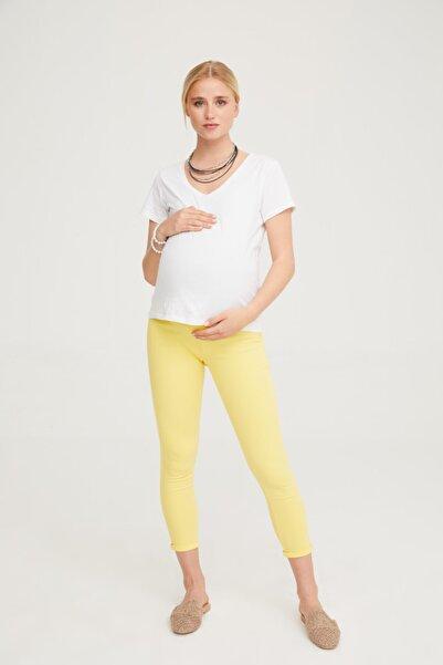 VAVIEN Kadın Sarı Hamile Süper Strech Tensel Skinny Fit Pantolon 1082