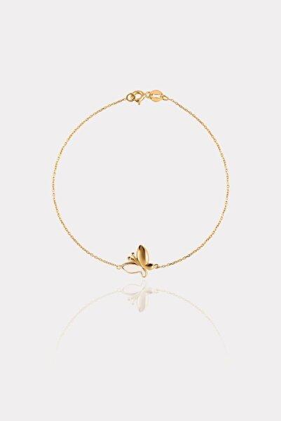 ATASAY Kadın Sarı Altın Kelebek Bileklik