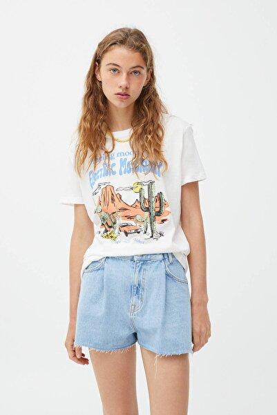 Pull & Bear Kadın Kaktüs Ve Araba Görselli T-shirt
