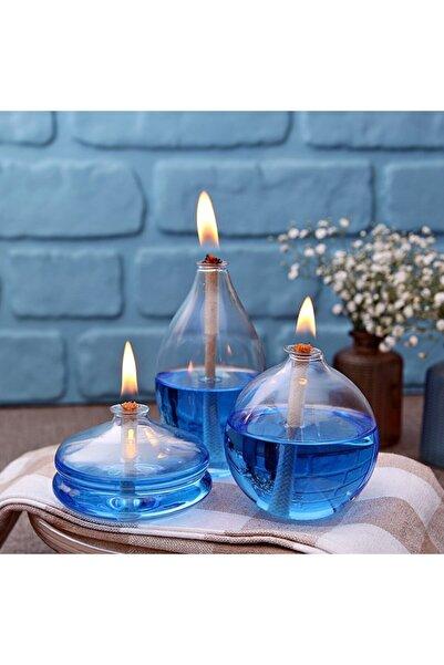 HediyeSec Buz Mavisi Mix Cam Kandil +450 ml Kandil Yağı 3'lü