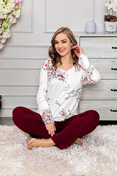 Manolya Kadın Bordo Desenli Viskon  Pijama Takım