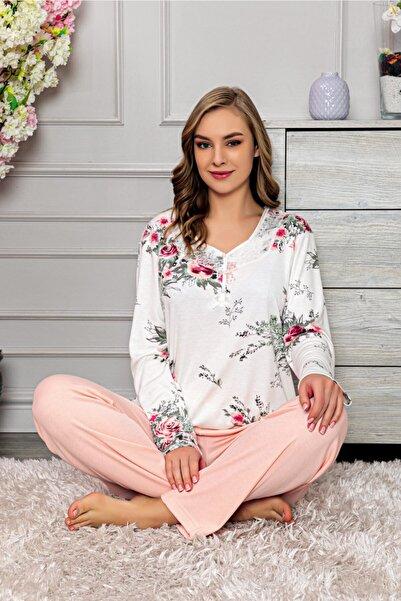 Manolya Kadın Pembe Çiçek Desenli Uzun Kollu Pijama Takımı