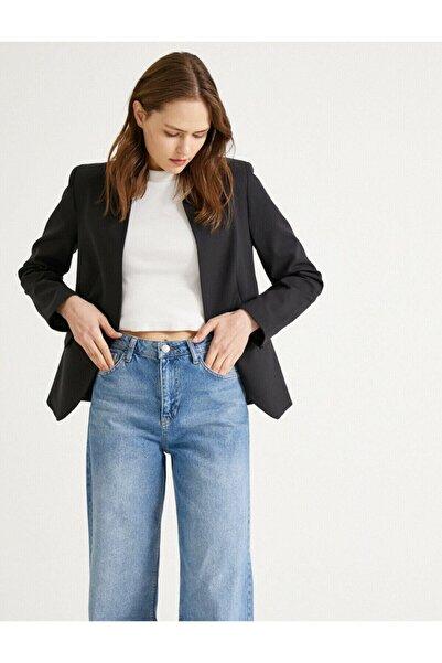 Koton Kadın Siyah Cep Detaylı Ceket