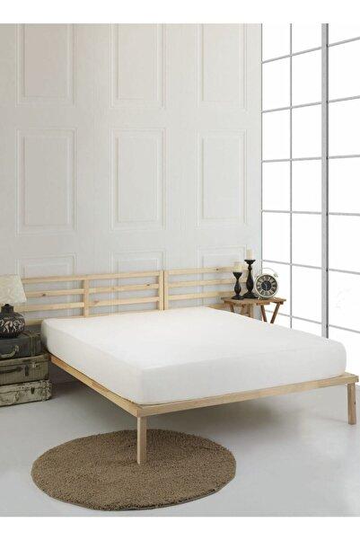 Miracolo Home Düz Pamuklu Penye Çift Kişilik Lastikli Çarşaf 160×200 Ekru