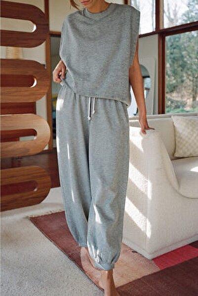 Kadın Gri Melanjlı Uzun Eşofman Takımı