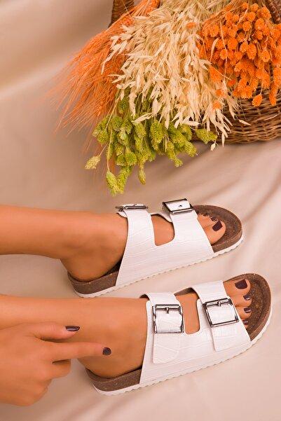 SOHO Beyaz Kroko Kadın Terlik 16296