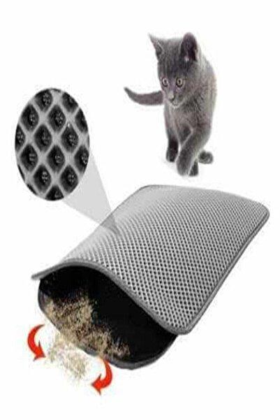 TİNEKE Elekli Kedi Tuvalet Önü Paspası 60x42,5 cm Gri Kedipaspası Kedi Oyuncakları