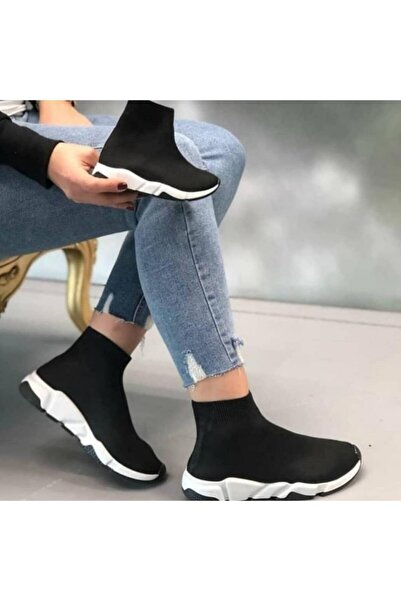 MİRKET Çocuk Unisex Siyah Beyaz Triko Streç Çorap Spor Ayakkabı Snekaer