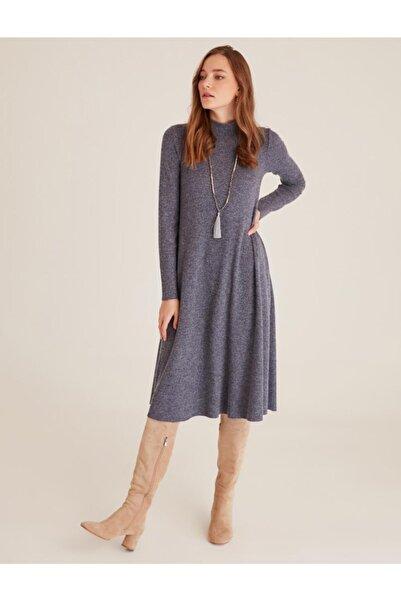 Jimmy Key Yüksek Yaka Uzun Kollu Soft Touch Elbise